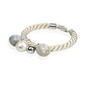 db583a366c5b Pulsera cordón blanco con ágata india y perla